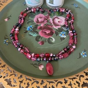 Vintage Ruby Red Stone Beaded Necklace